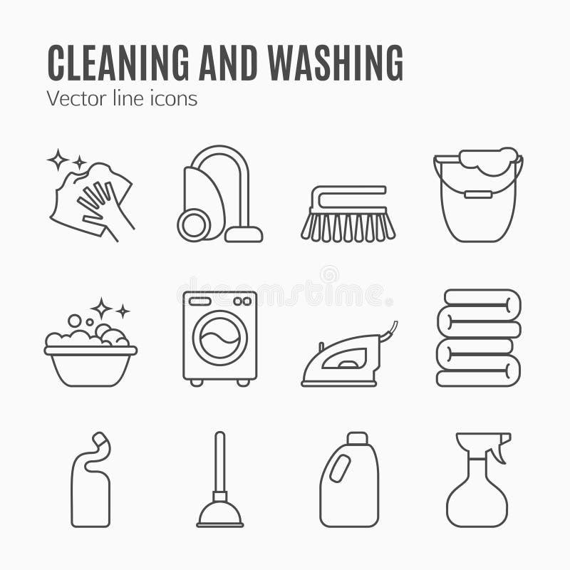 Göra ren washlinje symboler Tvagningmaskin, svamp, golvmopp, järn, dammsugare, skyffel och annan clining symbol Beställning i hus royaltyfri illustrationer
