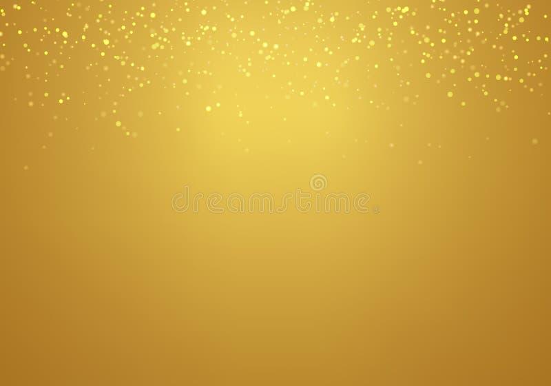 Göra sammandrag att falla som är guld-, blänker ljustextur på en guld- lutningbakgrund med belysning vektor illustrationer