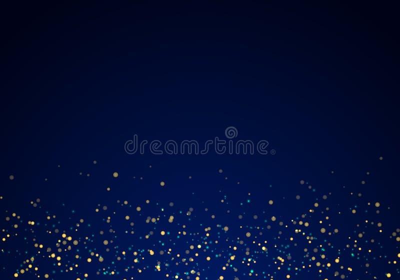 Göra sammandrag att falla som är guld-, blänker ljustextur på ett mörkt - blå bakgrund med belysning royaltyfri illustrationer