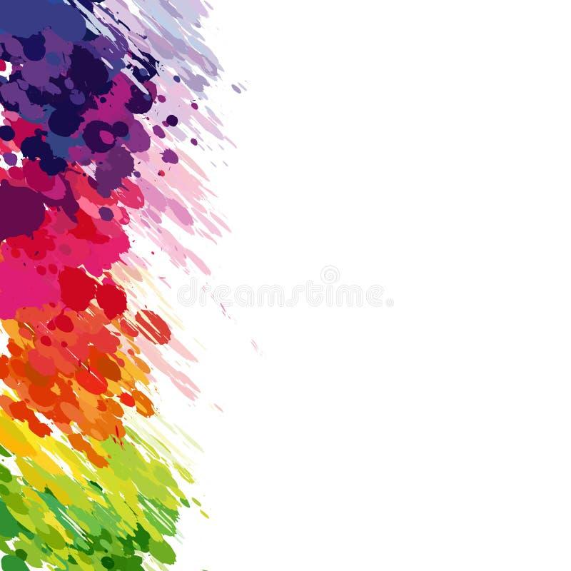 Göra sammandrag bakgrund av kulöra färgstänk stock illustrationer