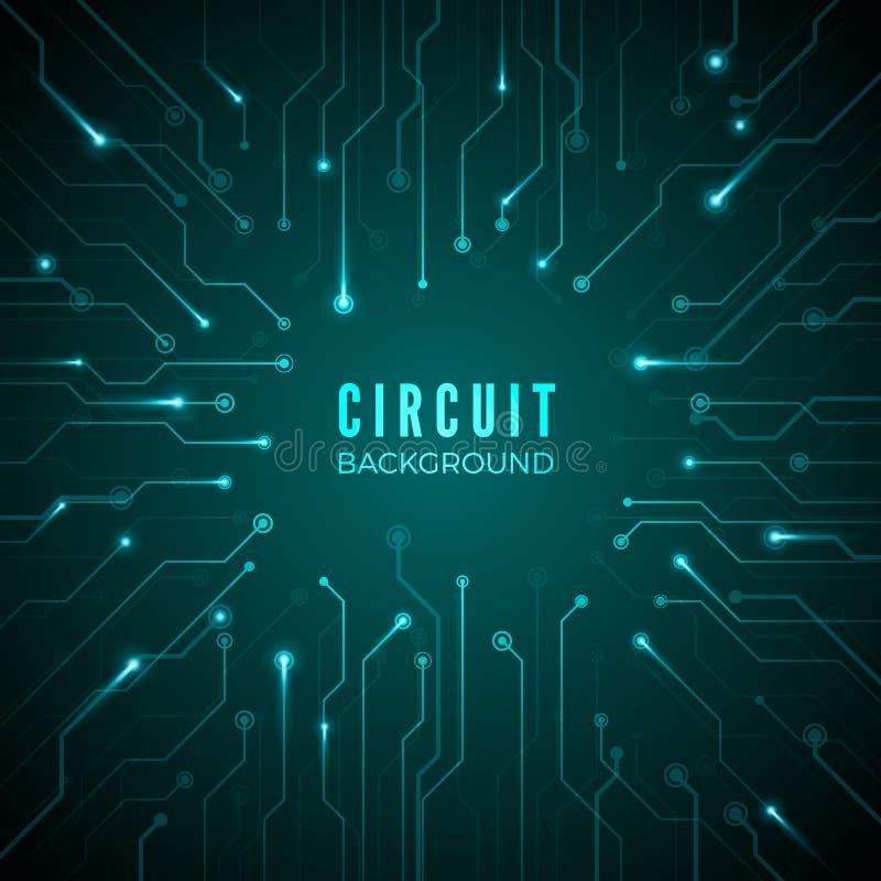 göra sammandrag bakgrundsströmkretsen teknologiskt baner design av mikroprocessorsystemet maskinvarumoderkortmodell vektor royaltyfri illustrationer