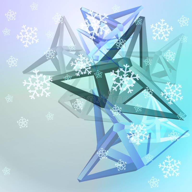 Göra sammandrag blå formsammansättning med snow vektor illustrationer
