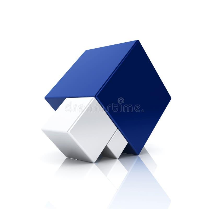 Göra sammandrag blåttaffärssymbolet med 3 kuber royaltyfri illustrationer