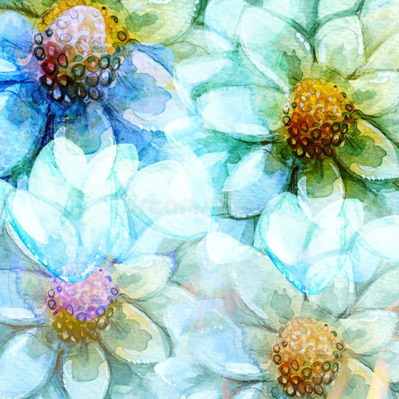Göra sammandrag Daisy Flowers Backgrounds Watercolors vektor illustrationer