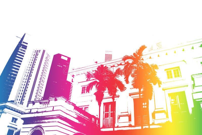 göra sammandrag den moderiktiga moderna regnbågen för stadsliv stock illustrationer