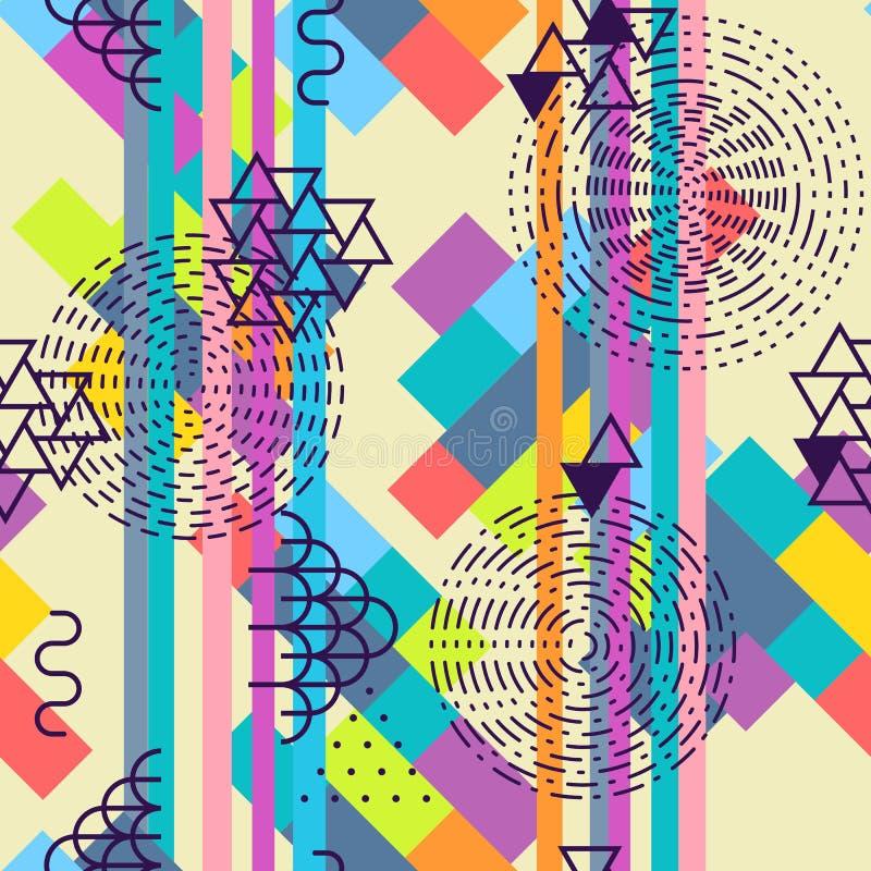 göra sammandrag den seamless geometriska modellen Sommarmotivbakgrund royaltyfri illustrationer