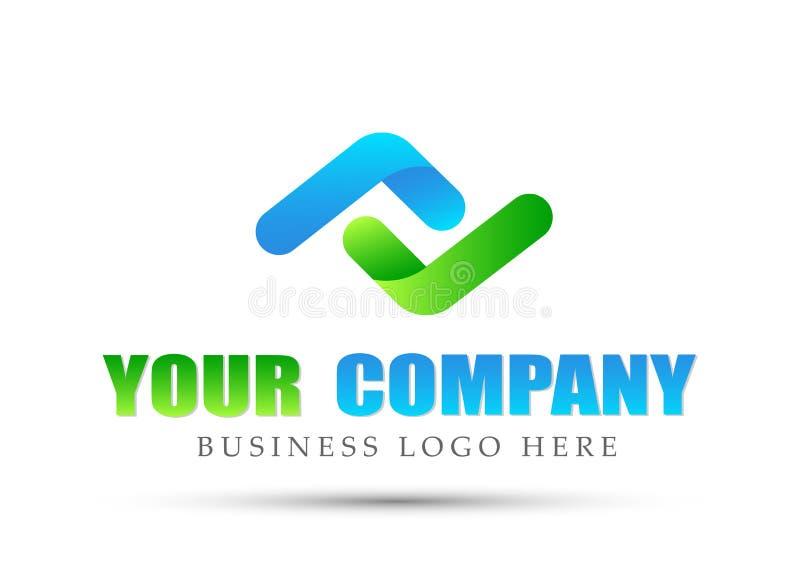 Göra sammandrag den två riktningar fokuserade logoen, framgång på företags investerar affärslogodesign Logo för finansiell invest vektor illustrationer