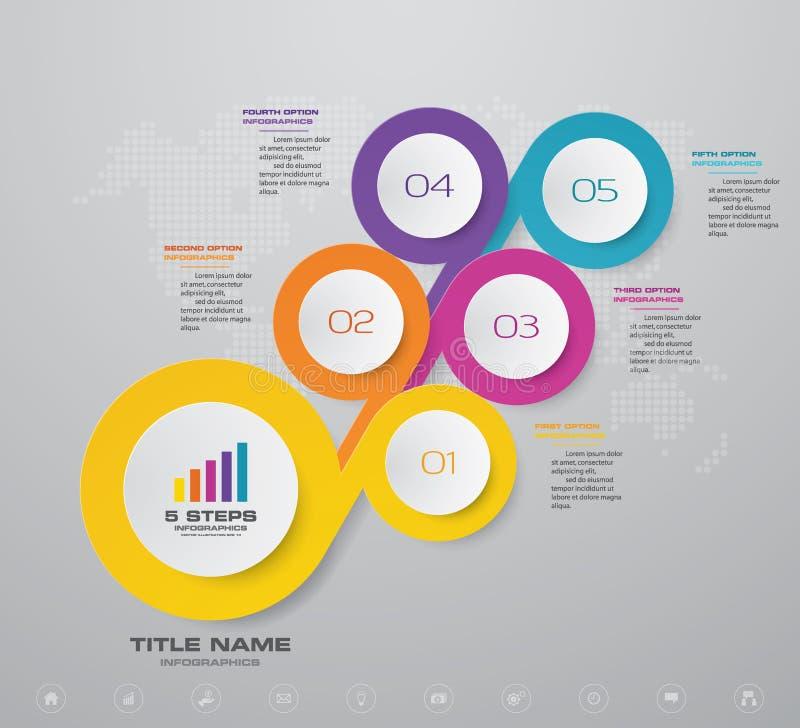 Göra sammandrag för presentationsdiagrammet för 5 moment beståndsdelen för infographicsen stock illustrationer