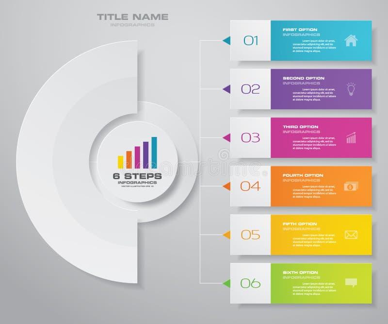 Göra sammandrag för presentationsdiagrammet för 6 moment beståndsdelen för infographicsen 10 eps royaltyfri illustrationer