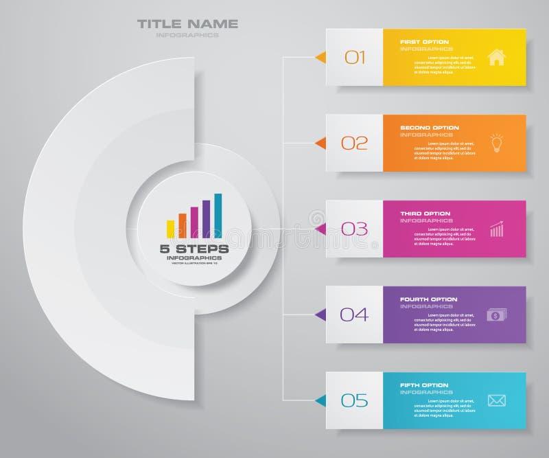 Göra sammandrag för presentationsdiagrammet för 5 moment beståndsdelen för infographicsen 10 eps royaltyfri illustrationer