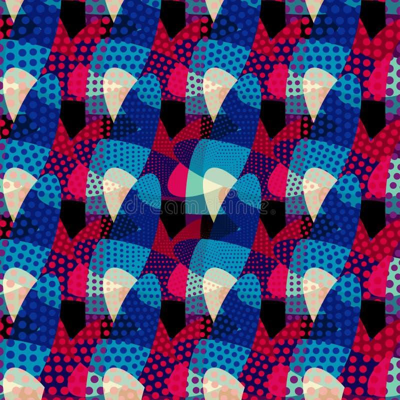 Göra sammandrag kulöra geometriska objekt på en svart bakgrundsillustration för din design royaltyfri illustrationer