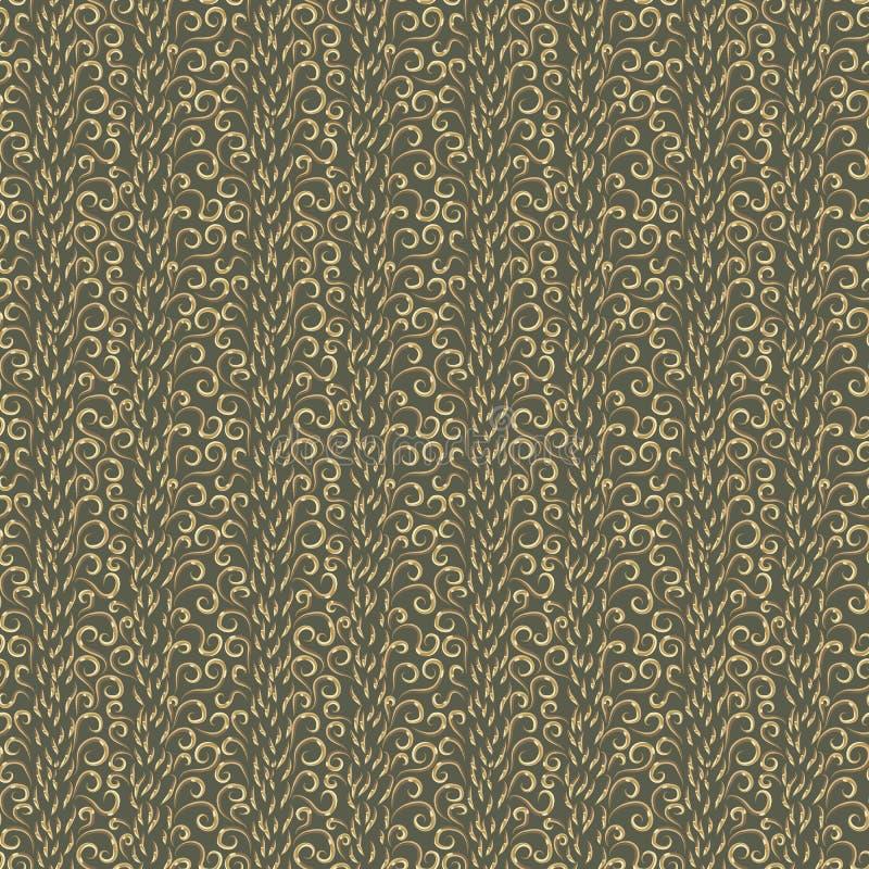 Göra sammandrag många olik guld- krullning på grön bakgrund stock illustrationer