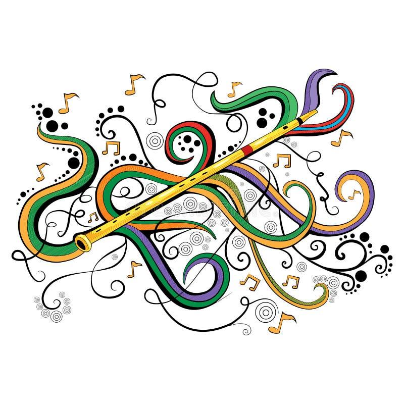 Göra sammandrag swirly musikalisk bakgrund med flöjtmusikinstrumentet stock illustrationer