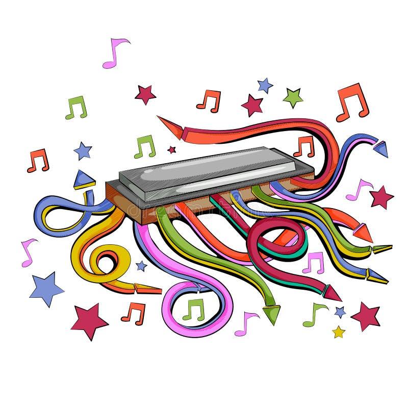 Göra sammandrag swirly musikalisk bakgrund med instrumentet för munspelmunspelmusik vektor illustrationer