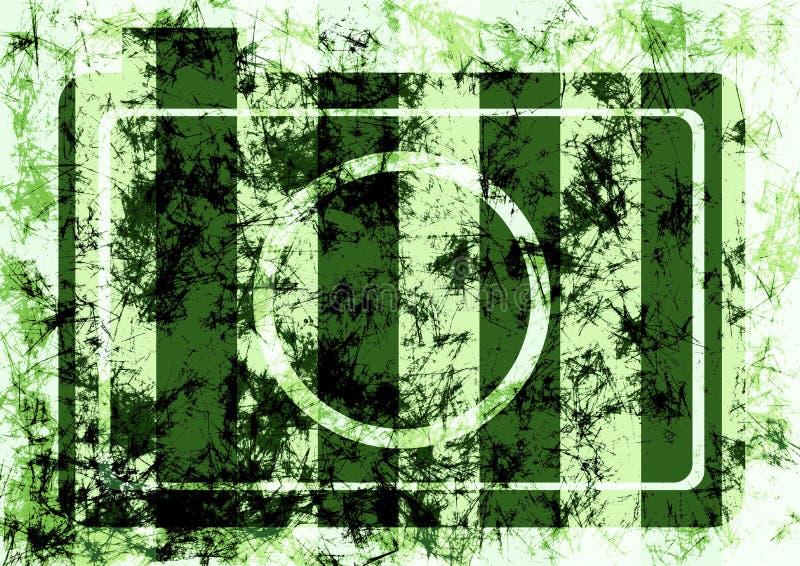 Göra sammandrag utdragen grungebakgrund med den retro fotokameran i gröna färger stock illustrationer