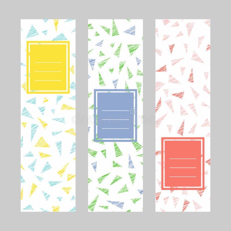 göra sammandrag vertikala baner Textram skrapat vektor illustrationer