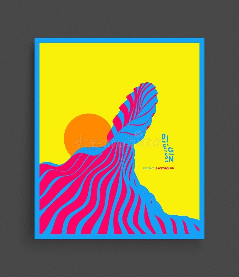 göra sammandrag wavy bakgrund Futuristisk illustration av den havvågor och solen Räkningsdesignmall color vektorn för möjliga var stock illustrationer
