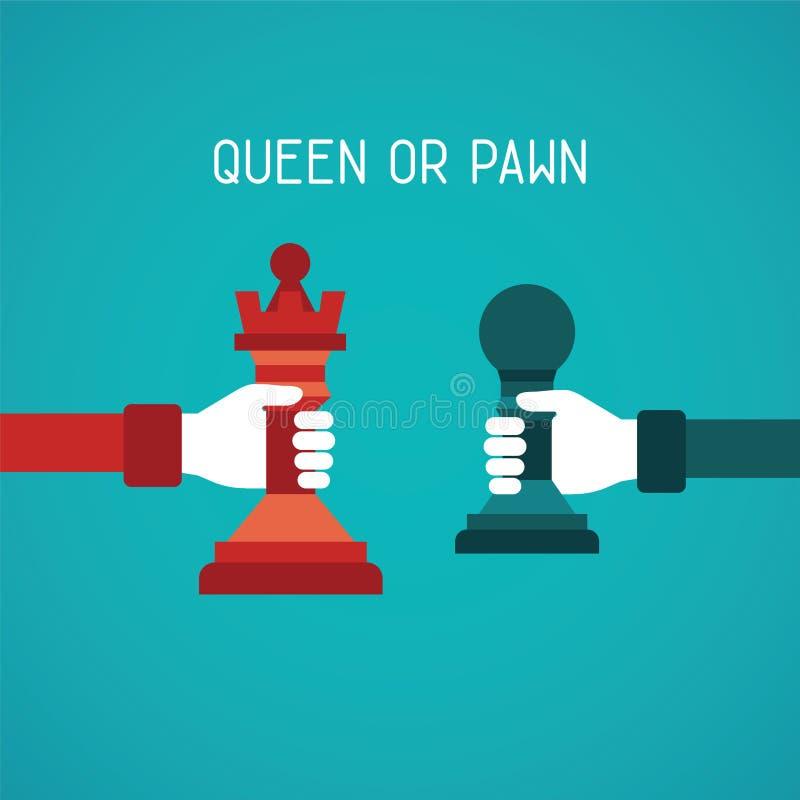 Göra till drottning eller pantsätta det abstrakta vektorbegreppet i plan stil stock illustrationer