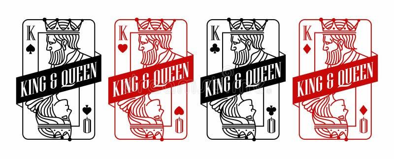 Göra till kung och göra till drottning svart och den röda spela kortillustrationen vektor illustrationer