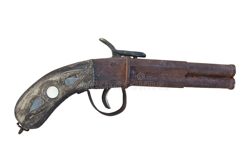 görad randig antik pistol arkivfoto