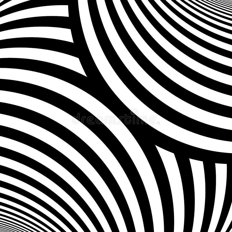 görad randig modell Upprepade krabba linjer för vit färg på svart bakgrund Kurvabstrakt begrepptapet också vektor för coreldrawil vektor illustrationer