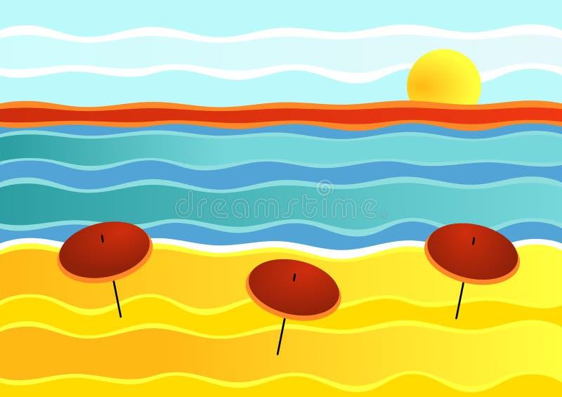 görad randig strandliggande royaltyfri illustrationer