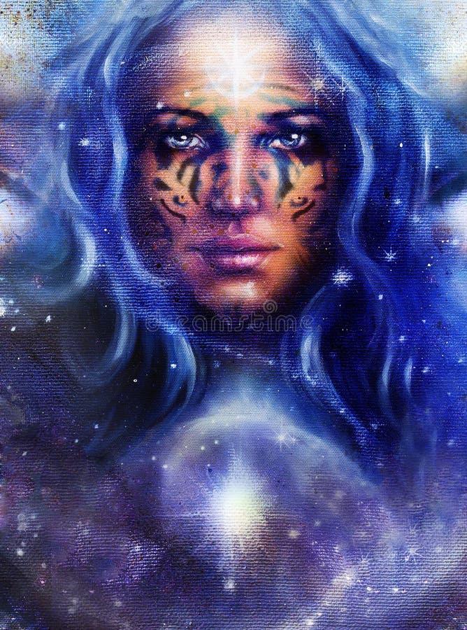 Göttin-Frau mit Tätowierung auf Gesicht im Raum mit hellen Sternen stock abbildung