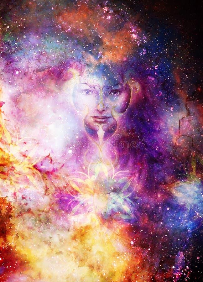 Göttin-Frau und ornametal Mandala im kosmischen Raum Kosmischer Raumhintergrund Blickkontakt stock abbildung