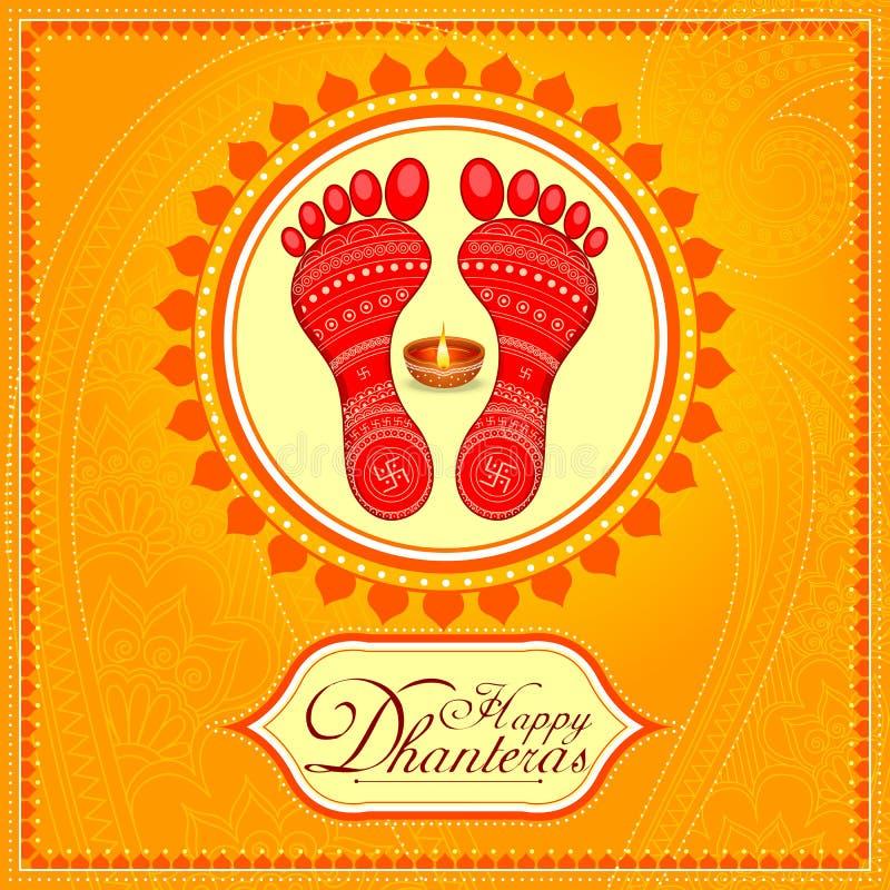 Göttin lakshmi Abdruck für glücklichen Diwali-Festivalfeiertag stock abbildung
