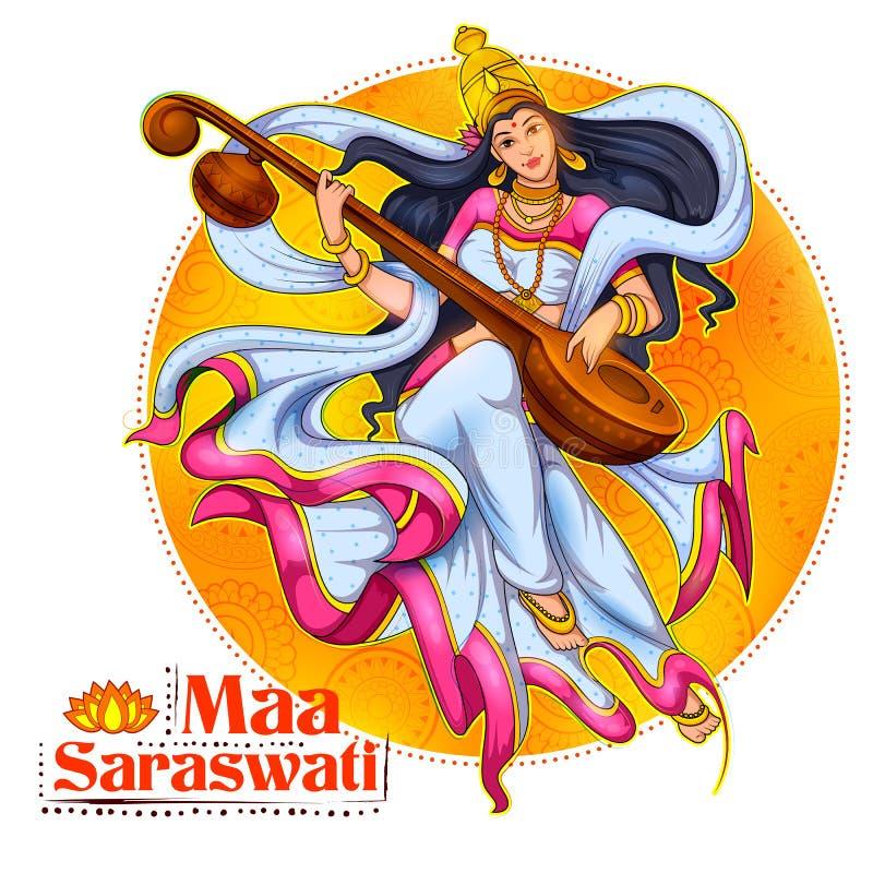 Göttin von Klugheit Saraswati für Vasant Panchami India-Festivalhintergrund lizenzfreie abbildung