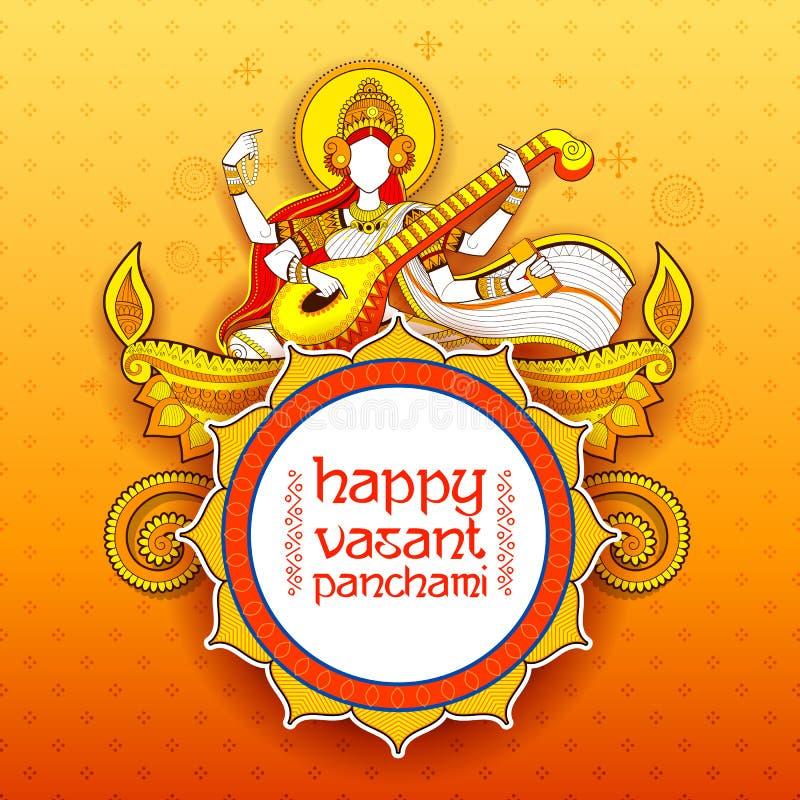 Göttin von Klugheit Saraswati für Vasant Panchami India-Festivalhintergrund vektor abbildung