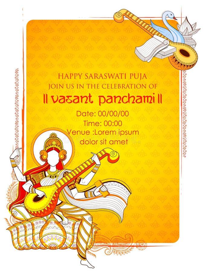 Göttin von Klugheit Saraswati für Vasant Panchami India-Festivalhintergrund stock abbildung