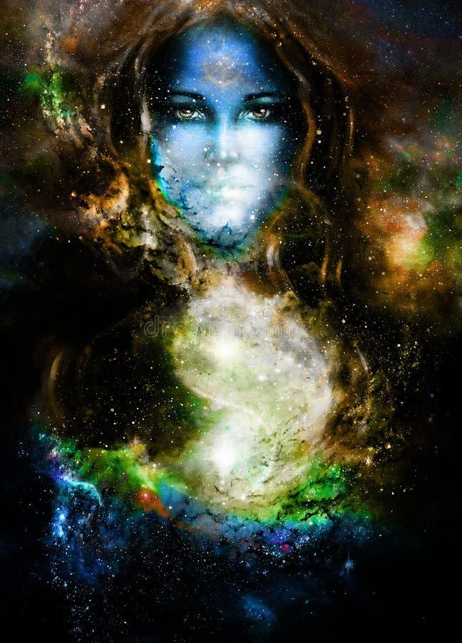 Göttinfrau und Symbol Yin Yang im kosmischen Raum lizenzfreie abbildung