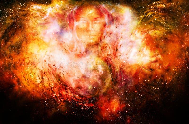 Göttinfrau und Symbol Yin Yang im kosmischen Raum Feuer-Effekt lizenzfreie abbildung