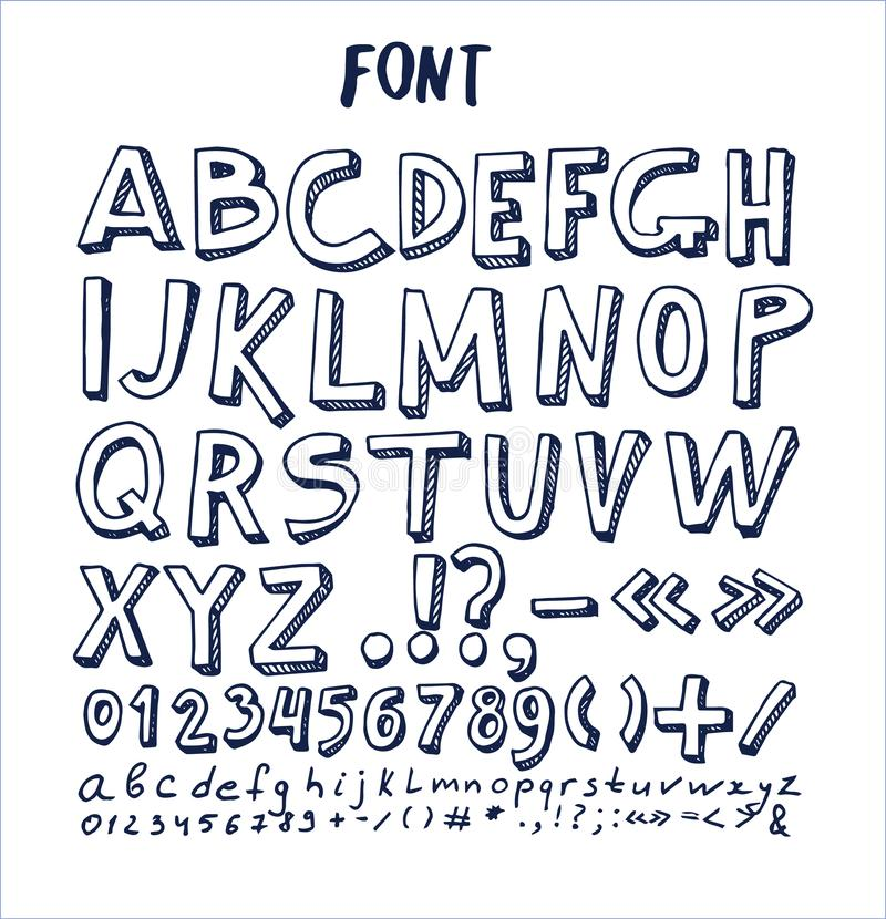 Güsse übergeben gezogenes Element-Alphabet schriftlichen Tinten-Stift lizenzfreie abbildung