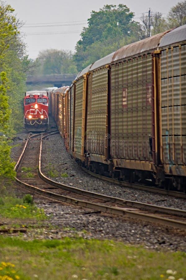 Güterzüge treffen sich auf schmalen Bahnen lizenzfreies stockfoto