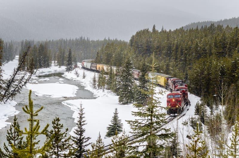 Güterzug auf einer kurvenden Bahn an einem schneienden Winter-Tag lizenzfreie stockfotografie