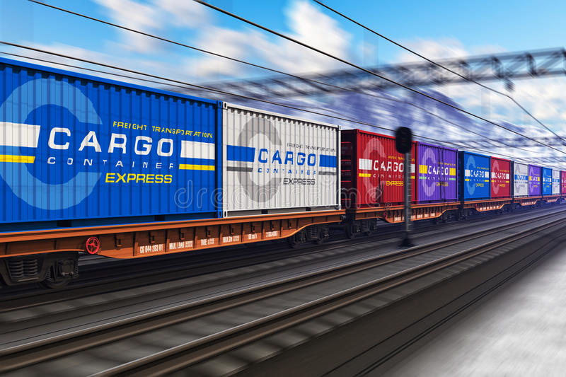 Güterzug mit Frachtbehältern stock abbildung