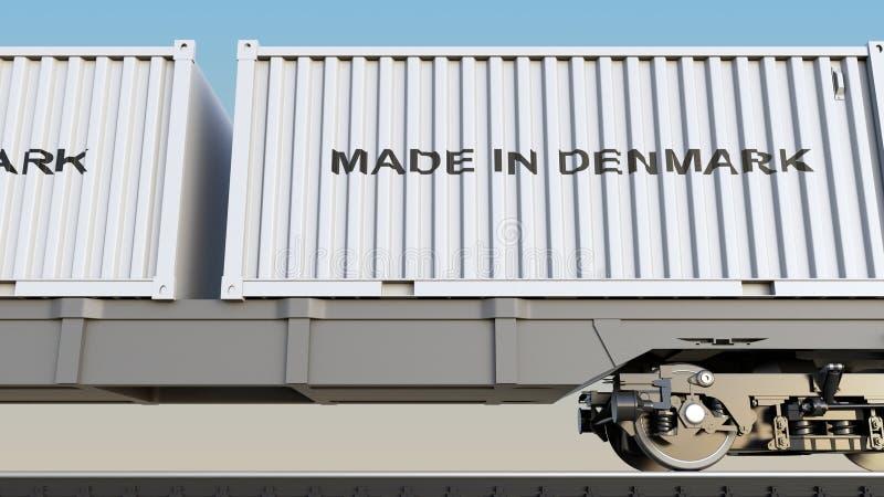 Güterzug und Behälter mit GEMACHT IN DÄNEMARK-Titel Bahntransport Wiedergabe 3d lizenzfreie abbildung