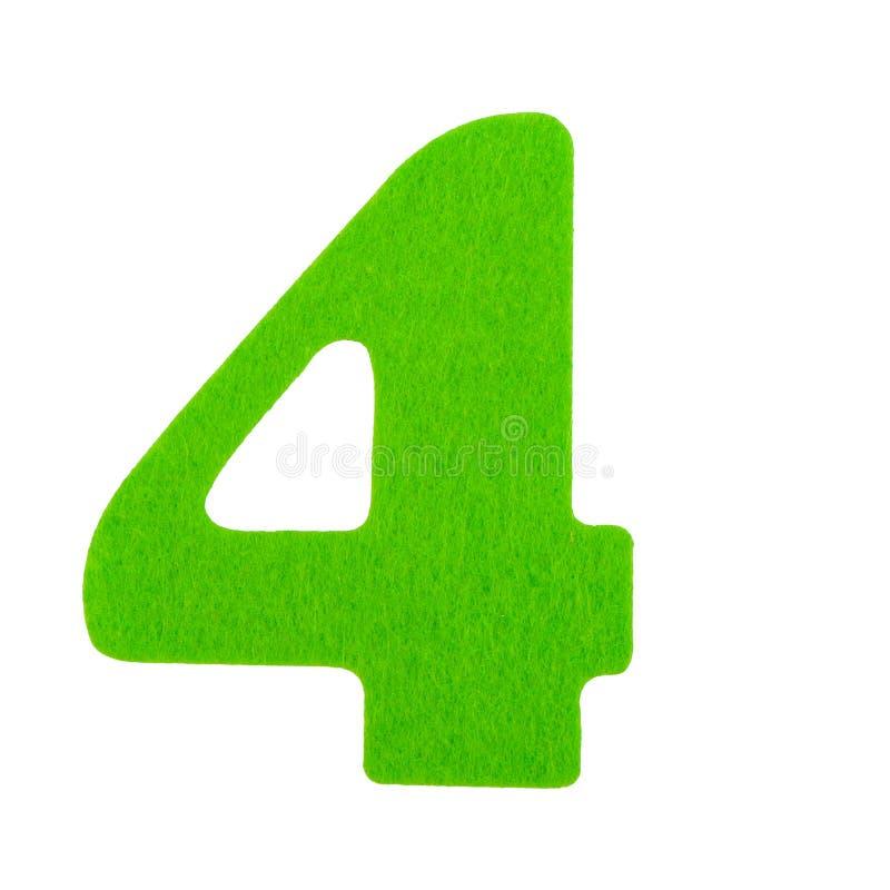Gąbka liczba cztery zielona gąbki chrzcielnica odizolowywająca na białym tle zdjęcia royalty free