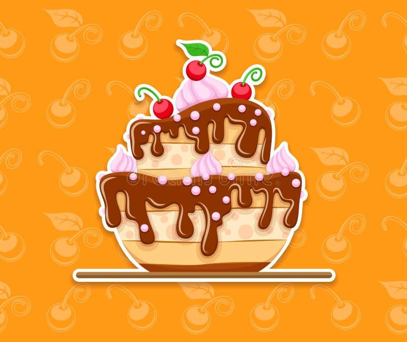 Gąbka torta deser z słodkiej czekolady glazerunkiem ilustracji