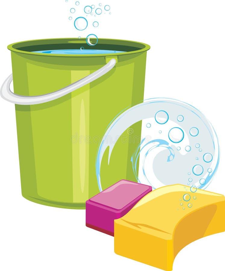 Gąbki i wiadro z wodą ilustracji