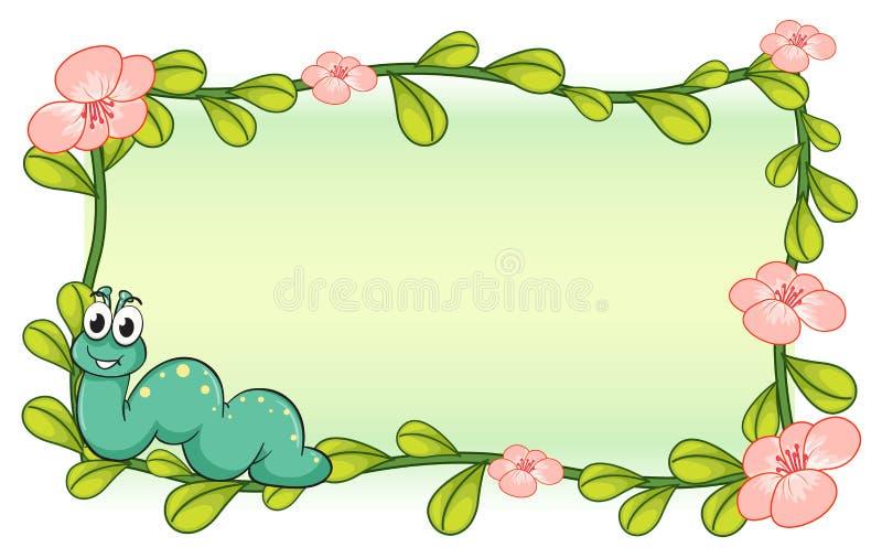 Gąsienica i kwiat rośliny rama royalty ilustracja