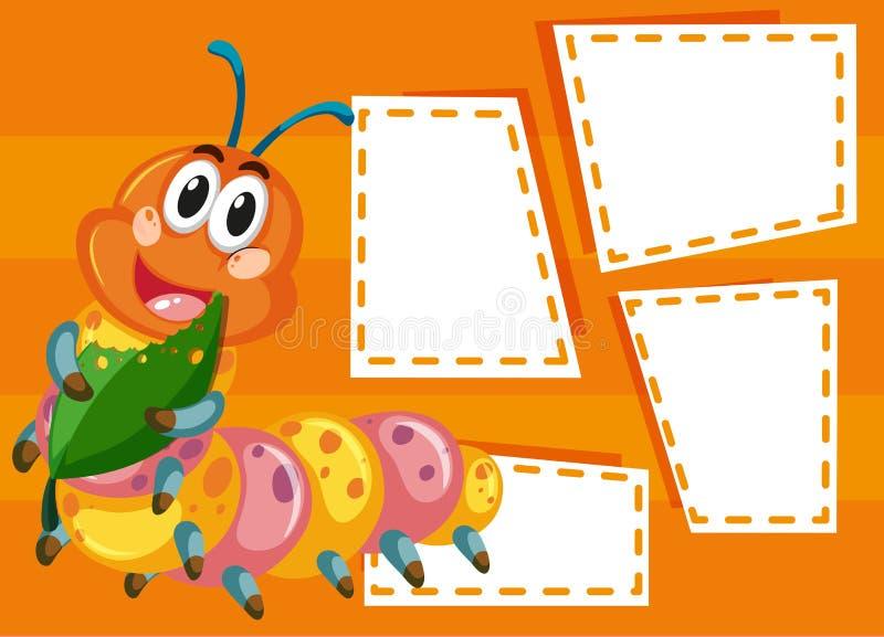 Gąsienica na nutowym szablonie ilustracji