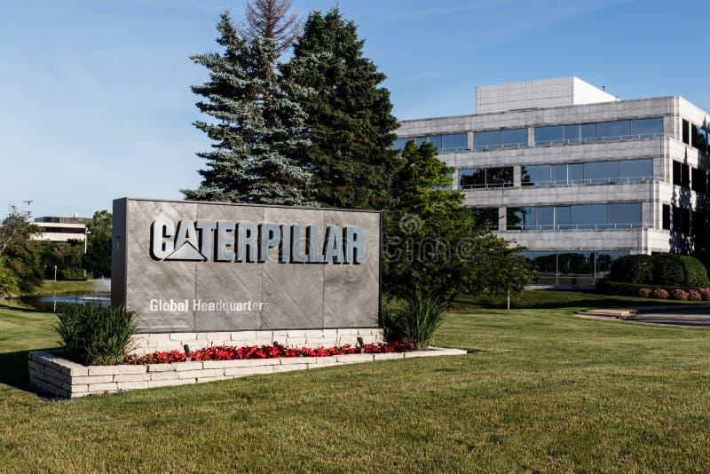 Gąsienicowe Globalne kwatery główne Caterpillar projektuje, rozwija, konstruuje i wprowadzać na rynek, manufaktury, maszynerię i  zdjęcia royalty free