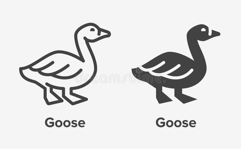 Gęsia mieszkanie linia, glif ikona Ptaka znak, ilustracja kaczka Cienki liniowy i sylwetka logo dla rolnego sklepu ilustracja wektor