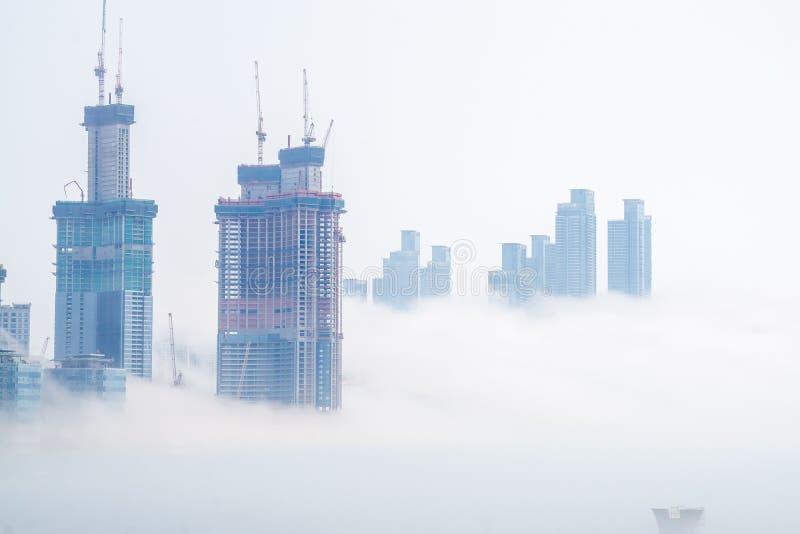 Gęsta ampuła i ciężki mgła cios od morza pas i ziemia fotografia royalty free