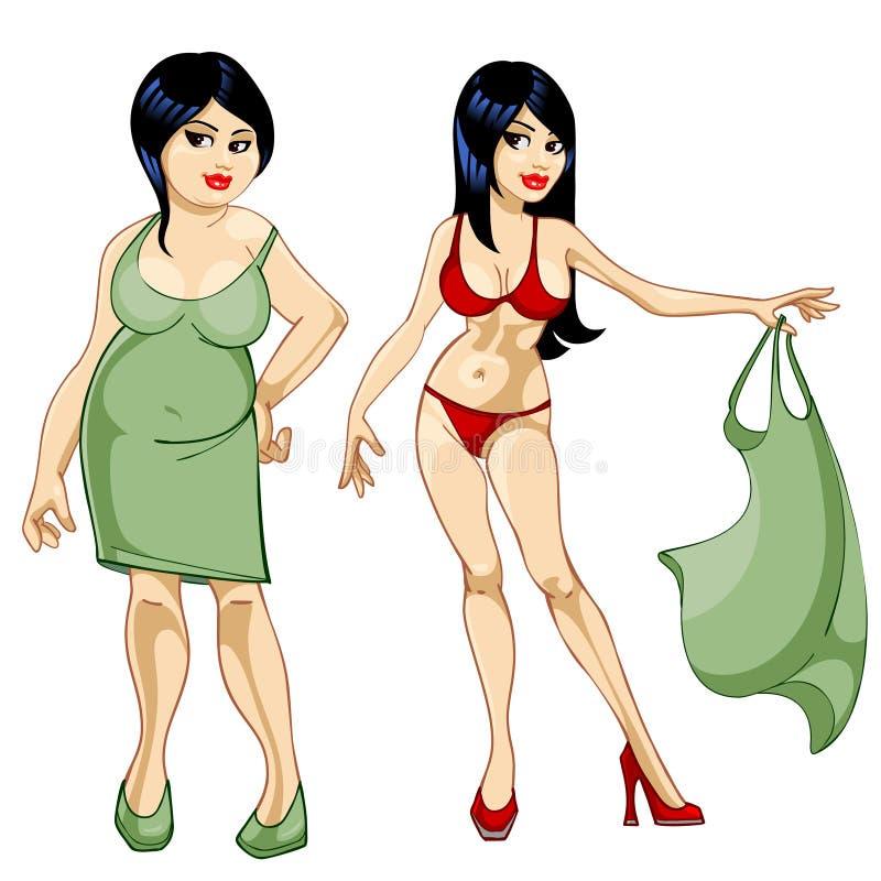Gęsta dziewczyna w sukni i cienka dziewczyna w kostiumu kąpielowym royalty ilustracja