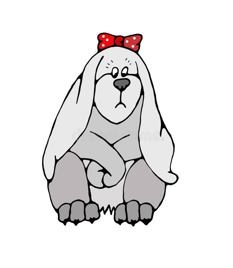 Gęstego fałdu śliczny królik jest smutnym 2D ilustracją odizolowywającym na białym tle ilustracji