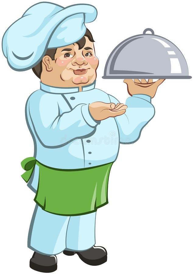 Gęsty szefa kuchni kucharz jest naczyniem royalty ilustracja